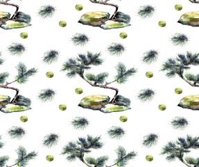 pine, watercolor, pattern