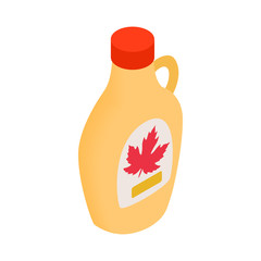 Bottle of maple syrup icon, isometric 3d style
