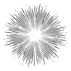 Comic style  black and white radial explosion. Superhero action.