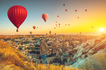 Deurstickers Geel Hot air balloons over Cappadocia
