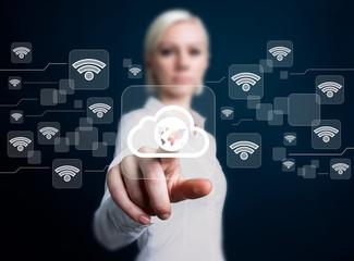 Social network Wifi business woman presses web button cloud map