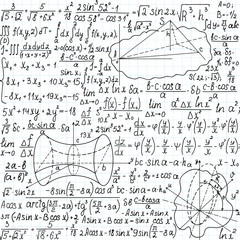 """Beautiful mathematical vector seamless pattern with figures, formulas and equations, """"handwritten on the copybook paper"""". You can use any color of background"""