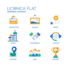 Set of modern office flat design icons and pictograms