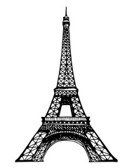 Eiffel Tower illustration on a white background
