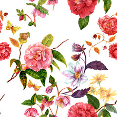 Vintage style seamless background pattern with watercolor flower