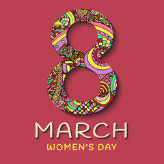8 March women's Day. Abstract Floral Greeting card, ornaments in the style of boho. Patterned letters on a pink background. Colorful, bright, contrast composition, banner