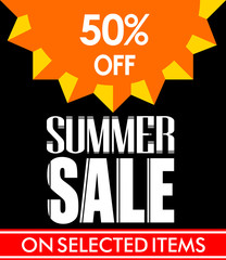 Summer Sale Poster Design in Black Background with Vector Sun for Summer Promotions