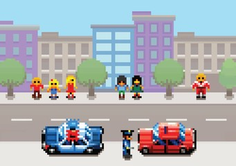 A car stopped by the police pixel art video game style layer illustration