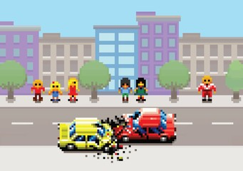 car crash accident on street, pixel art game retro layers illustration