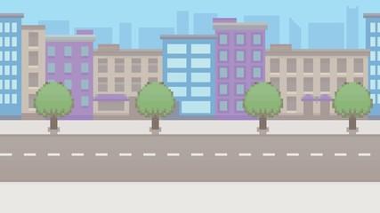 Pixel art empty city vector pattern background