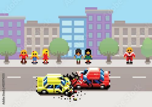 Car Crash Accident On Street Pixel Art Game Retro Layers