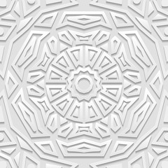 Seamless white geometric  pattern, indian ornament, persian motif, vector. Endless texture can be used for wallpaper, pattern fills, web page  background,surface textures.