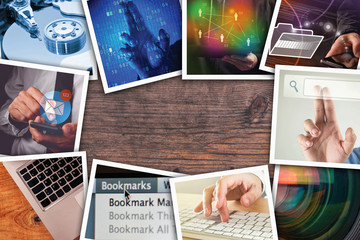 Modern computer technology photo collage