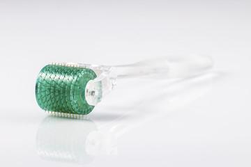 Derma roller for medical micro needling therapy. Tool also known as: Derma roller, mesoroller, meso-roller, mesopen.