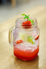 Iced Drink With Strawberry And Lemon