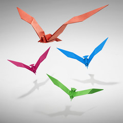 Group of flying birds in Origami- clipping path