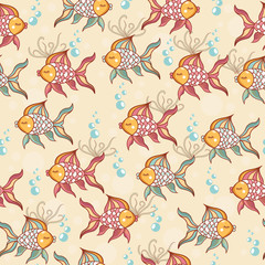 Photo sur Aluminium Hibou Seamless pattern of beautiful fish