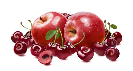 Red apple cherry isolated on white background