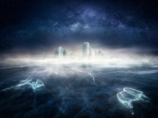 Frozen city in icy landscape under the night sky