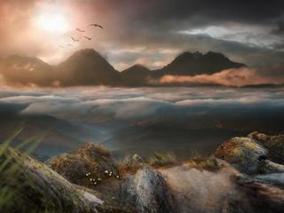 Aluminium Prints Lavender Mountain landscape background in sunset