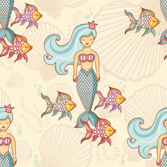 Photo sur Plexiglas Hibou Marine seamless pattern with fish and mermaids