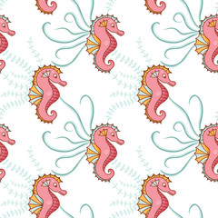 Photo sur Aluminium Hibou Seamless, sea pattern with sea horses