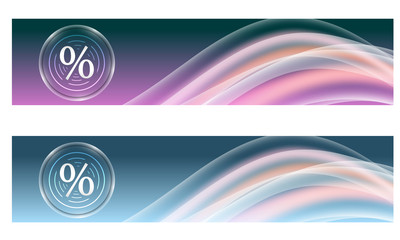 Set of two banners with colored rainbow and percent symbol