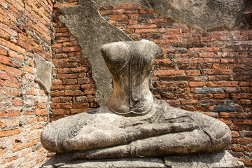 The sculpture was respectfully engaged placed at an ancient temple called Wat (temple) Chai Watthanaram that was built over 300 years ago, in Thailand's ancient capital of Ayutthaya.