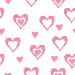 Watercolor hearts seamless pattern. Romantic vector background with painting hearts isolated on white.
