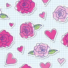 seamless pattern of roses and hearts