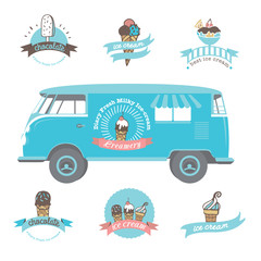Set of vintage and modern ice cream shop logo badges and labels.
