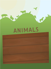 Silhouettes of animals and wooden sign