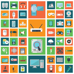 Set of modern flat electronic devices icons