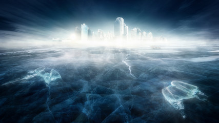 Frozen city in icy landscape