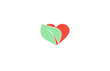 leaf heart abstract logo