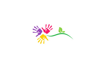 plant flower hand colorful logo