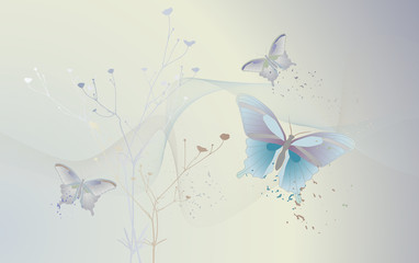 Desktop wallpaperwith flying butterflies - vector illustration