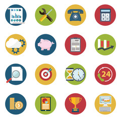 Web design objects, delivery, business, office and marketing items icons.