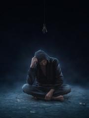 Depressive man with no idea