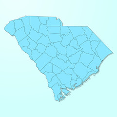 South Carolina blue map on degraded background vector