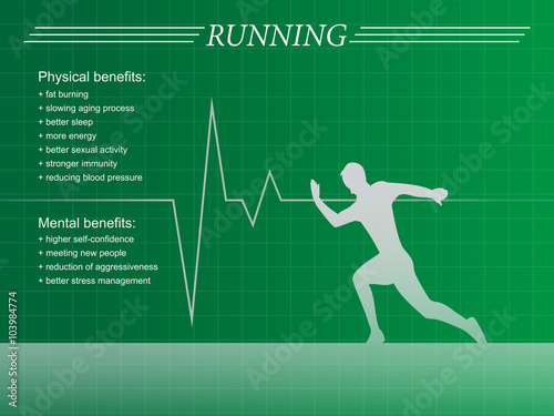 Running man silhouette infographic background