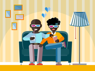 Afro-American man watch a movie in 3D glasses. Aframerican Boy smiling, relaxing, eating corn  in a cinema. 3d cinema concept in flat design style. Negroid race man in 3d cinema