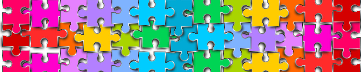 puzzle reihe band banner bunt Metall
