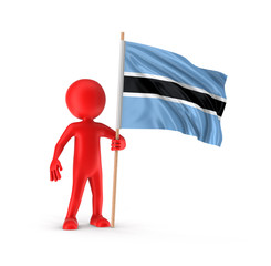 Man and Botswana flag. Image with clipping path