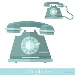 flat old phone icon on white