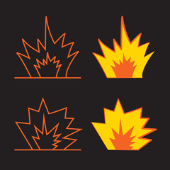 Cartoon explosion effect with smoke. Effect boom, explode flash, bomb comic