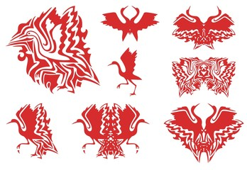 Tribal red stork symbols. Set of the flaming symbols of the flying and walking stork, double stork symbols
