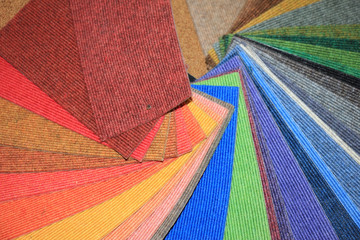 Carpet swatches in a shop