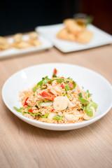 Thai salad with instant noodle.
