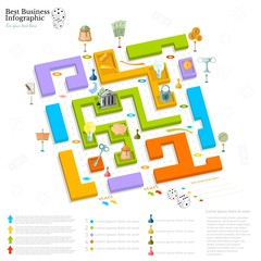 flat business maze infographic background top view with finanial board game game cells dice game pieces money